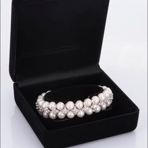 Double layer fresh cultured pearl bracelet